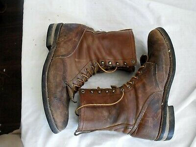 $75 • Buy Vintage Distressed Red Wing Leather Lace Up Packer Chore Work Boots Sz 9-1/2 EE