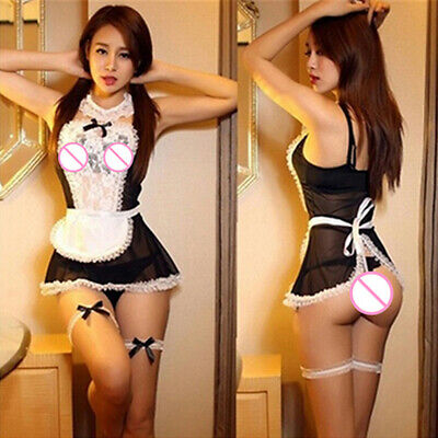 $7.94 • Buy Women Sheer Lace Costume Cosplay Maid Outfit Sexy Fancy Dress G-string Serap US