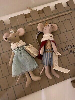 £44.99 • Buy Maileg King And Queen Mouse In Castle Gift Bag BNWT