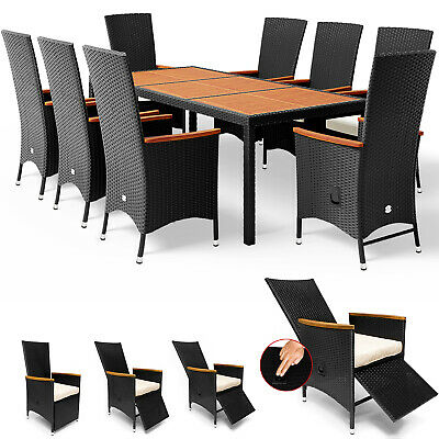£819.95 • Buy Casaria Poly Rattan Dining Table Chairs Set 190x90cm Garden Furniture 8 Seater