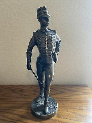"""$179 • Buy Antique Vintage Bronze Napoleonic War  French Hussar Soldier Military Statue 14"""""""