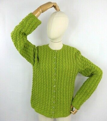 £35.99 • Buy Vintage Green Cable Aran Knit Sweater Button Cardigan Soft Wool Blend S 10 12