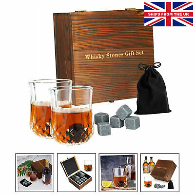 £19.75 • Buy Whiskey Stones Gift Set Whisky Accessories, 8 Chilling Rocks With 2 Whiskey G...