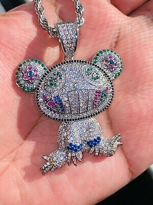 $39.99 • Buy Cartoon Colored Frog Bling Men Women Silver Iced Pendant Icy Charm Rope Chain