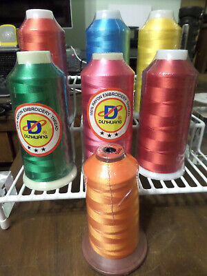 $32.99 • Buy Lot 7 Dunhuang Nanofiber Rayon Embroidery Machine Thread #40 5500 Yard Cones NEW