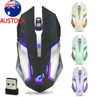 AU14.99 • Buy LED Wired Wireless Mouse Gaming USB Ergonomic Optical For PC Laptop Rechargeable