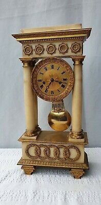 £695 • Buy Large French Marble And Ormolu Portico Mantle Clock