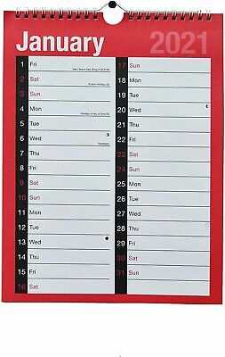 £8.99 • Buy 2021 Wall Calander Family Organiser A4 Large Wiro Month Planner Memo Spiral Plan