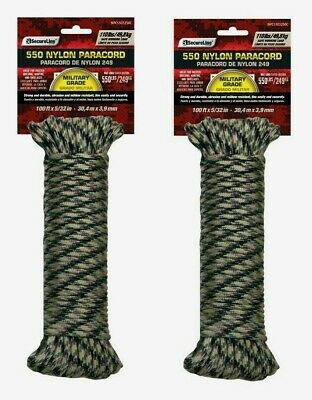 $16.25 • Buy 2 SecureLine 50' CAMOUFLAGE Braided Nylon PARACORD Military Grade Compact 110 Lb
