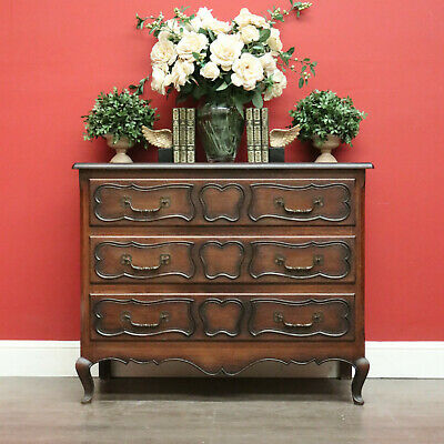 AU1095 • Buy Vintage French Chest Of Drawers, 3 Drawer Hall Cupboard Cabinet Chest Of Drawers