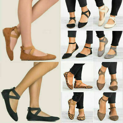 £10.96 • Buy Womens Ballerina Ballet Dolly Pumps Flat Sandals Ladies Ankle Strap Shoes Sizes