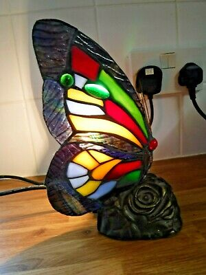 £39.99 • Buy Beautiful Tiffany Style Butterfly Table Lamp ~ Fully Working ~ Very Good Cond
