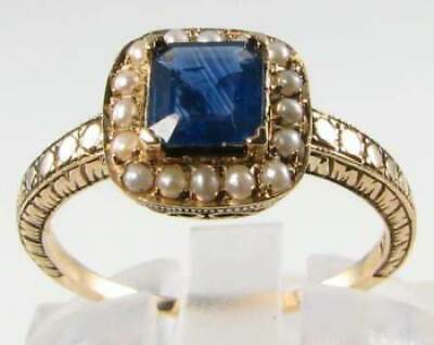 £299 • Buy Lovely 9k 9ct Gold Blue Sapphire & Pearl Art Deco Ins Ring Free Resize