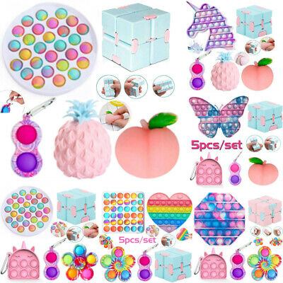 £8.88 • Buy 5Pack/Set Fidget Toys Simple Dimple Stress Relief Infinity Cube Tools Bundle Toy
