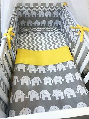 £20 • Buy Elephant Grey Yellow Neutral Crib, Space Saver, Cot Or Cot Bed Bedding Set