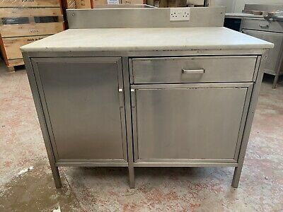£595 • Buy Stainless Steel Food Preparation Table Marble Top Work Surface With Storage