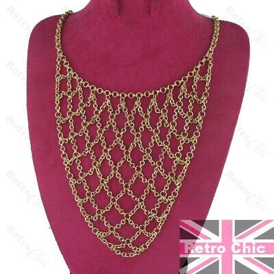 £5.99 • Buy CHAINMAIL BIG NECKLACE Woven Chains GOLD FASHION Drape STATEMENT Belly Dancing
