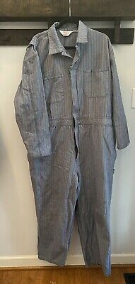 $28 • Buy Vintage Walls Master Made Blue White Herringbone Jean Coveralls Men Size XL Tall