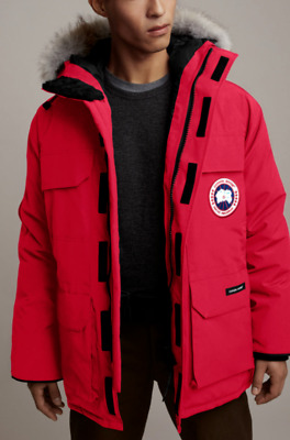 $607.33 • Buy Canada Goose Expedition Red Hooded Fur Trim Artic Snow Ski Parka Down Coat L