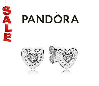 £11.49 • Buy New Genuine Pandora Sterling Silver Logo Heart Stud Earrings 297382CZ With Pouch