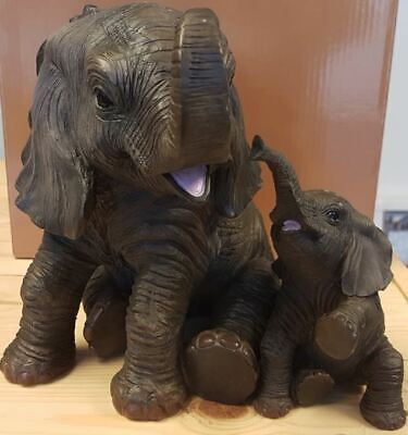 £34.90 • Buy Extra Large Mother Elephant And Baby Calf Ornament Leonardo Collection