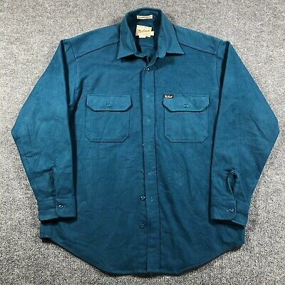 $36.09 • Buy Vintage Woolrich Expedition Chamois Shirt Mens L Heavy Cotton Made In USA Blue
