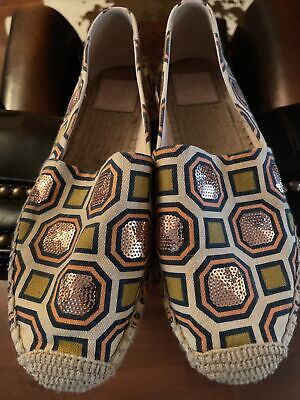 $39.99 • Buy Tory Burch Cecily Octagon Sequin Canvas Flat  Loafers Shoes 9-Pre-owned