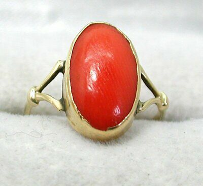 £89 • Buy Antique / Vintage 9 Carat Gold And Coral Ring Small Size H