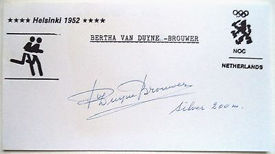 £28 • Buy OLYMPIC GAMES 1952 BERTHA VAN DUYNE BROUWER 200m SILVER MEDAL INK AUTOGRAPH