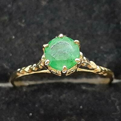 £17.09 • Buy Antique Filigree .55ctw Colombian Emerald 14K Yellow Gold 925 Silver Ring Size 5