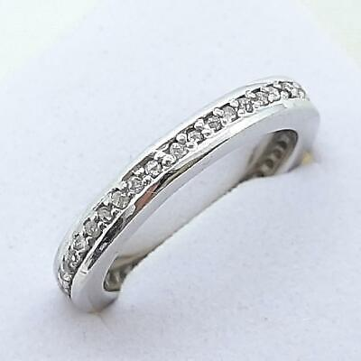 £7.64 • Buy Genuine .50ctw H-SI Diamond 925 Sterling Silver Eternity Band Ring Size 7 3.7g