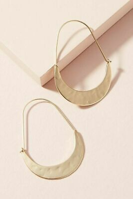 $ CDN27.03 • Buy Earrings Hoops Anthropologie Crescent Hammered Trend M/l Gold Plate $38 New Tag