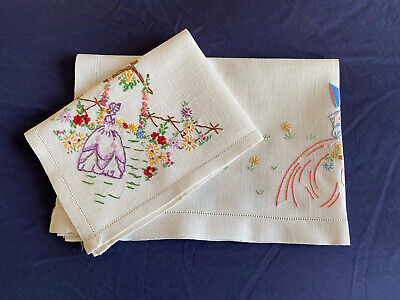 £2.99 • Buy 2 Vintage Crinoline Lady Hand Embroidered Cream Linen Tray Cloths Table Centres