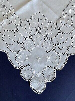 £4.99 • Buy Superb Vintage White Irish Linen Hand Embroidered Eyelet Work Square Tablecloth