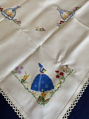£8.49 • Buy Vintage Crinoline Lady Hand Embroidered Irish Linen Tablecloth Crocheted Edging