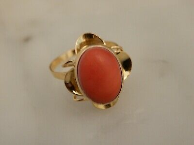 £55 • Buy A Stunning Antique 18 Ct Gold Art Deco Oval Coral  Ring