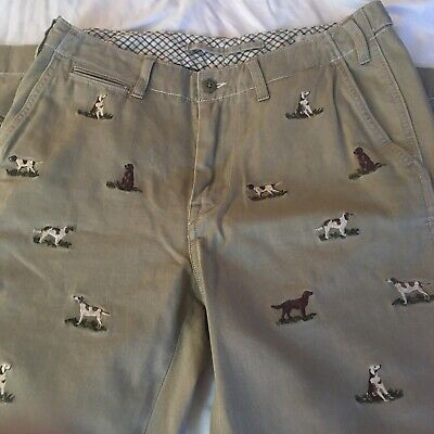 $54.99 • Buy Polo Ralph Lauren Embroidered Khaki Pants Dog Pattern 30x30 Mens Trousers Hunt