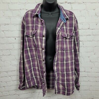 $ CDN50.34 • Buy Anthropologie Outerknown Plaid Flannel Button Up Shirt Purple Womens Size XL