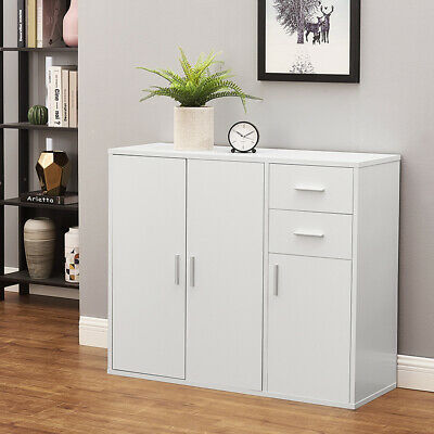 £49.99 • Buy Modern White Buffet Cabinet Sideboard Cupboard Unit Storage With Drawers & Doors