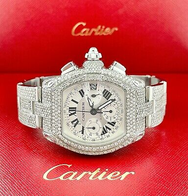 $13999 • Buy Cartier Roadster XL Men's Watch Silver Dial 43mm Iced Out 18ct Diamonds Ref 2618