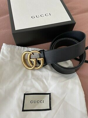AU500 • Buy GUCCI Wide (4cm) Leather Belt With Double G Buckle