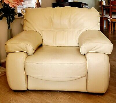 £200 • Buy Used 3 Piece Suite, Stokers Cream Leather Sofa And Two Armchairs - REVISED PRICE