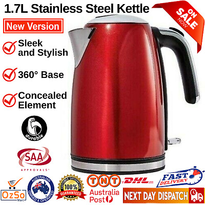 AU56.95 • Buy 1.7L Stainless Steel Electric Cordless Red Kettle Water Boiler Jug Tea Maker NEW