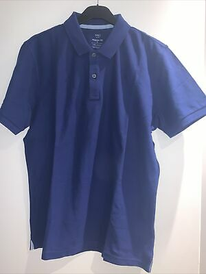 £5 • Buy Brand New Marks And Spencer Cotton Navy Blue Polo Shirt Size M
