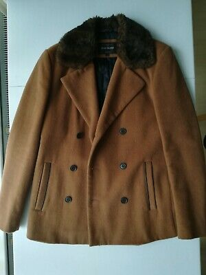 $27.50 • Buy River Island Mens Wool Blend Camel Brown Pea Coat With Faux Fur Collar Size S