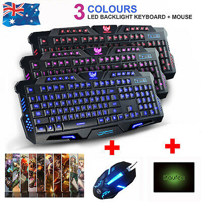 AU29.99 • Buy 3 Color Gaming Keyboard And Mouse Set For PC Laptop Backlit Usb Wired Ergonomic