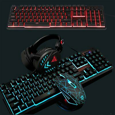 AU39.89 • Buy Gaming Keyboard Mouse Combo Headset & Mouse Pad Kit LED Backlit Wired Headphone