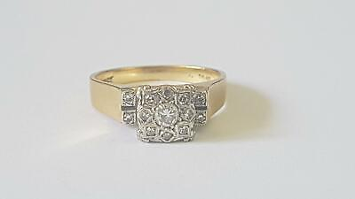 AU209.50 • Buy 1950s-60s 18ct Yellow Gold Raised Square Pave Set Diamond Cluster Ring O/7½ 5.6g