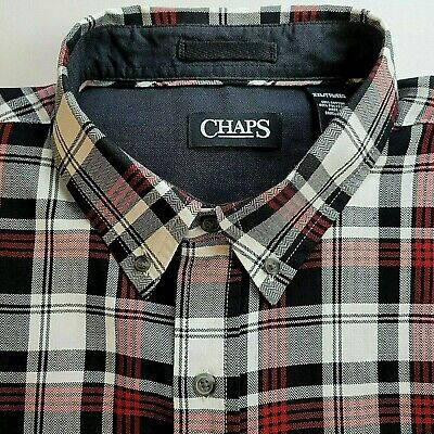 $22.50 • Buy Chaps Men's Plaid Flannel Button Down Shirt XXL Black/White/Red Long Sleeve New