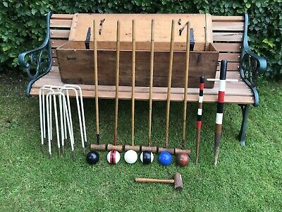 £345 • Buy The Crown Early Croquet Set 6 Player Pine Box Complete Very Good Condition Rare